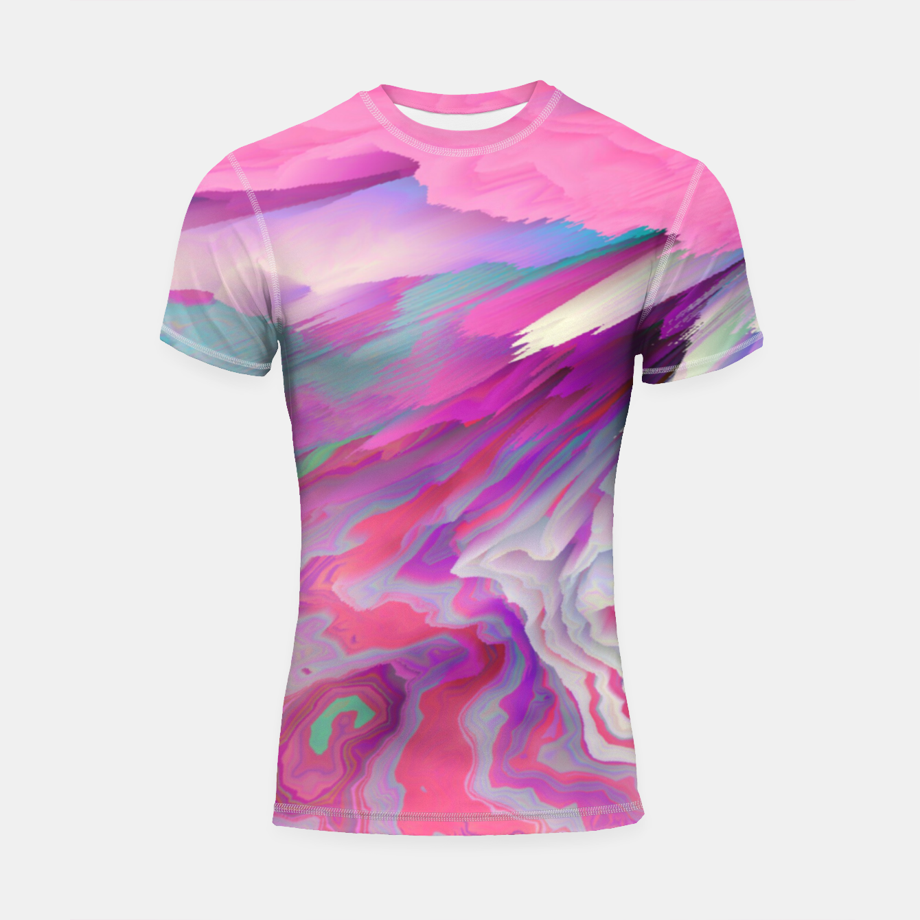 Image of Loud Silence Glitched Fluid Art Shortsleeve rashguard - Live Heroes