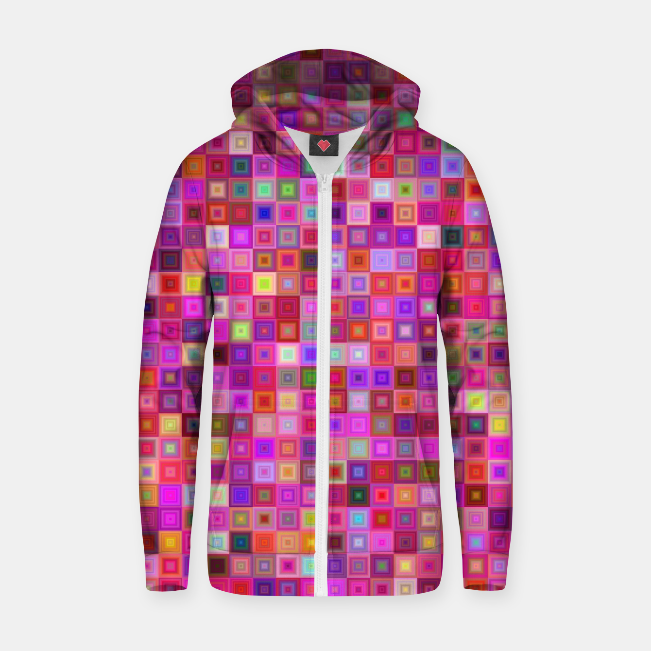 Image of Pink Mosaic Zip up hoodie - Live Heroes