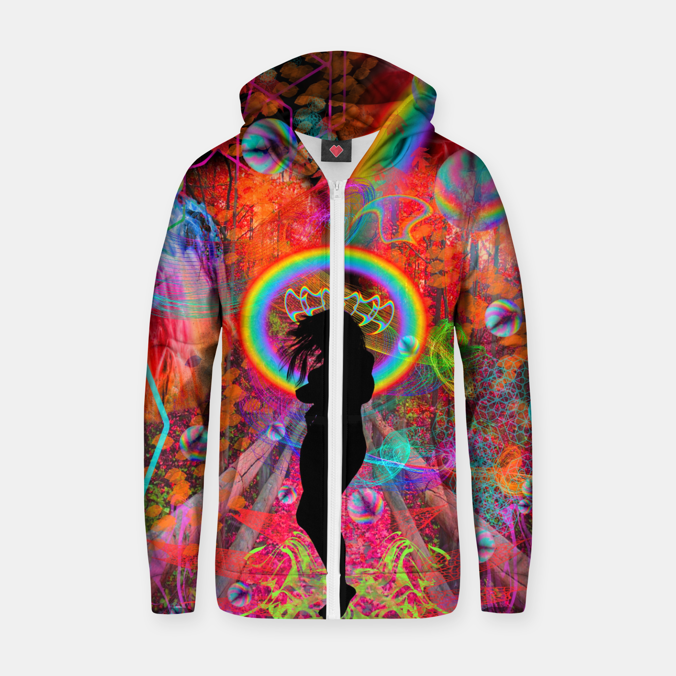 Image of Autumn Fantasy Rainbow Witch (rainbow, psychedelic) Zip up hoodie - Live Heroes