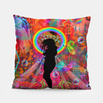 Autumn Fantasy Rainbow Witch (rainbow, psychedelic) Pillow thumbnail image