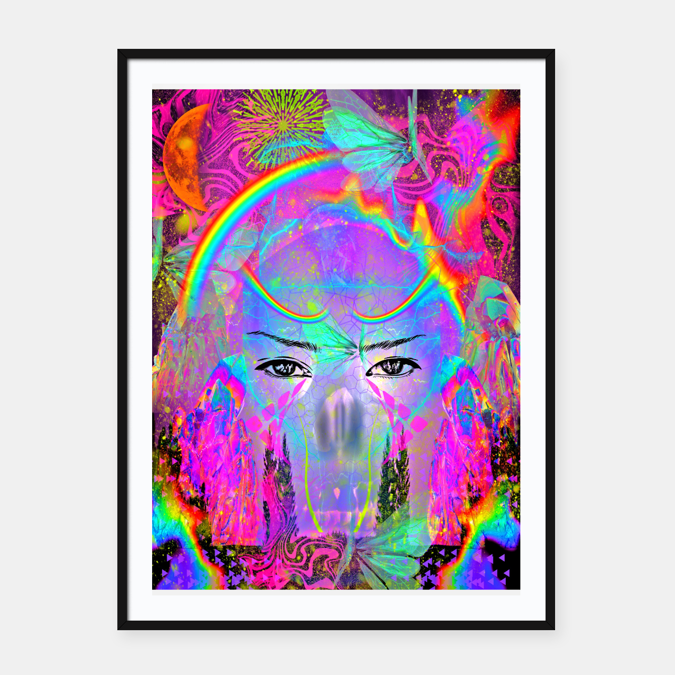 Image of Rainbow Crystal Psychic Framed poster - Live Heroes