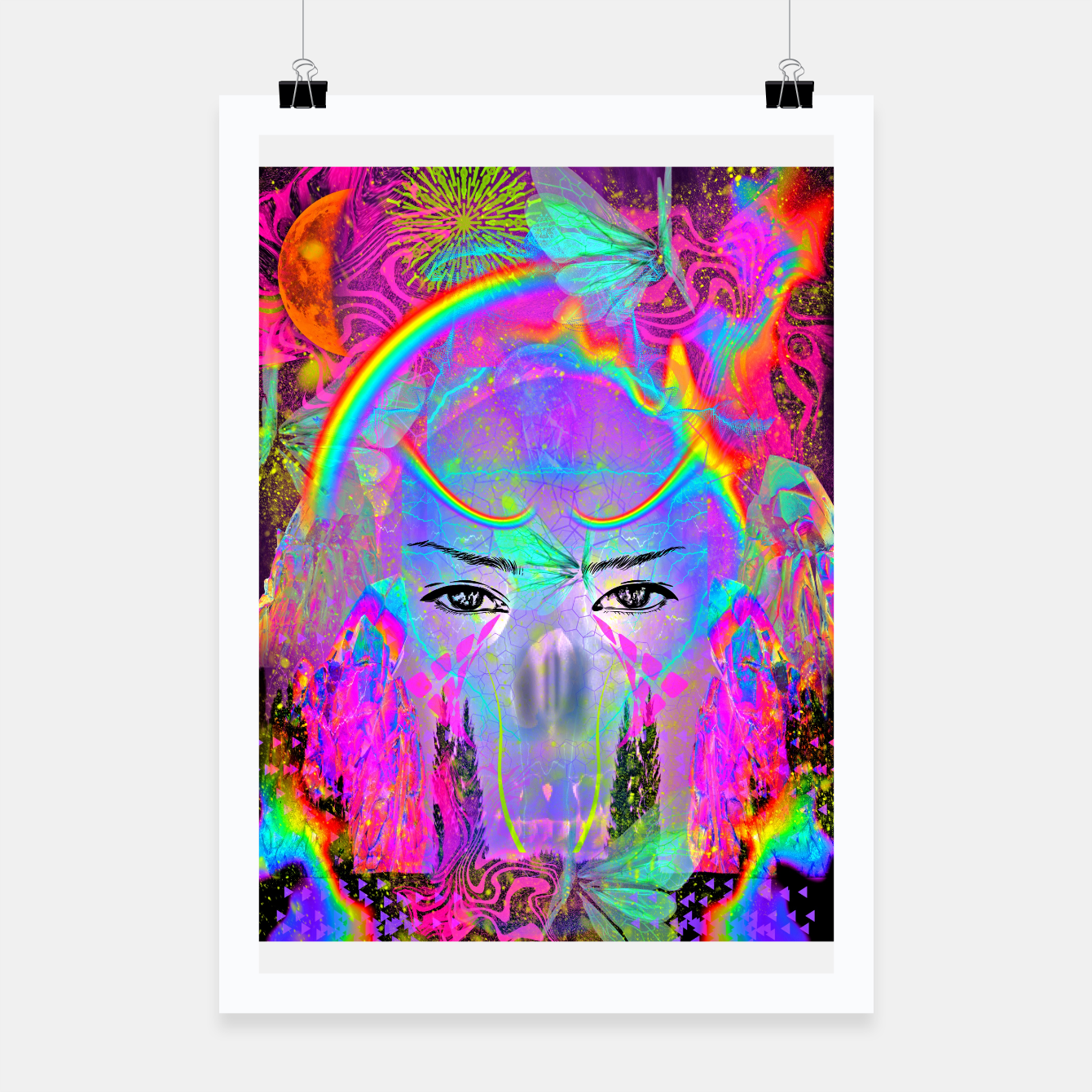 Image of Rainbow Crystal Psychic Poster - Live Heroes