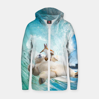 Miniatur Surfing Squirrel Zip up hoodie, Live Heroes