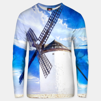 wind mill landscape digital aquarell aqstd Unisex sweater thumbnail image