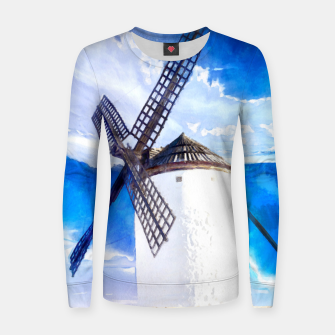 wind mill landscape digital aquarell aqstd Women sweater thumbnail image