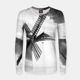 Thumbnail image of wind mill landscape digital aquarell aqbw Women sweater, Live Heroes