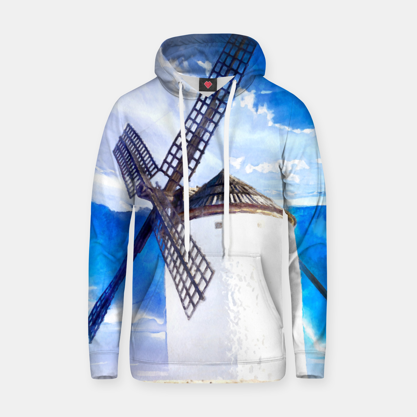 Image of wind mill landscape digital aquarell aqstd Hoodie - Live Heroes