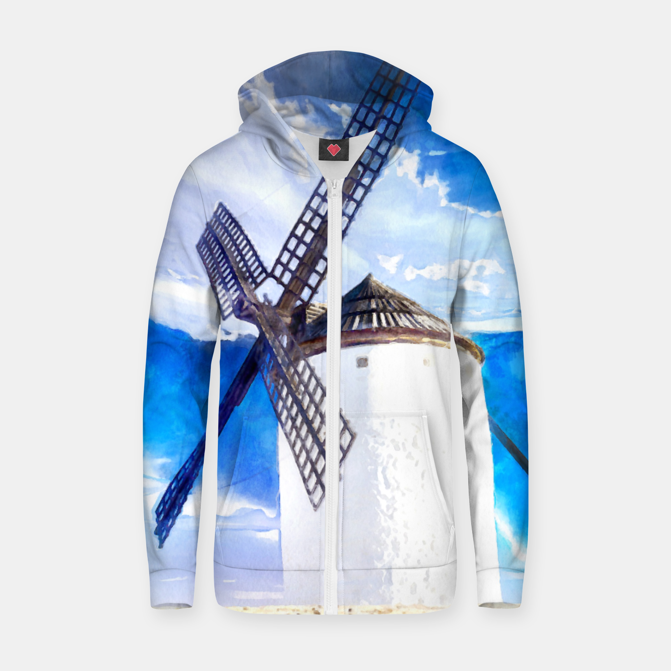 Image of wind mill landscape digital aquarell aqstd Zip up hoodie - Live Heroes