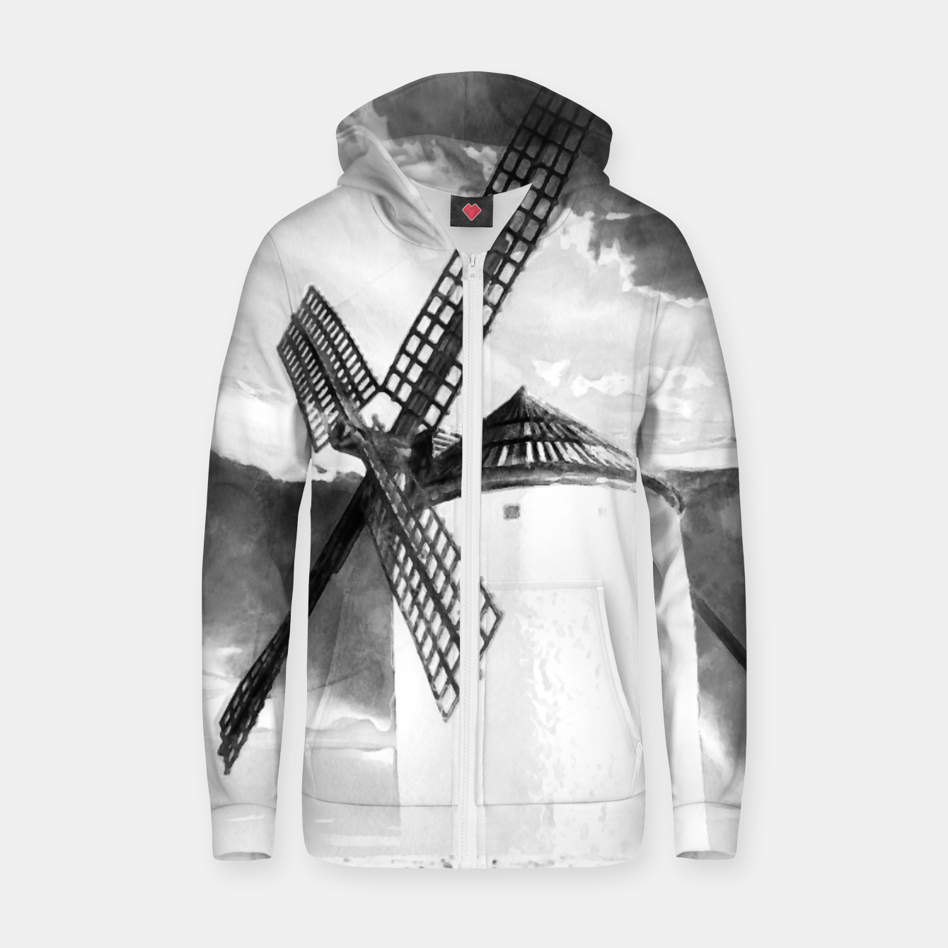 Image of wind mill landscape digital aquarell aqbw Zip up hoodie - Live Heroes