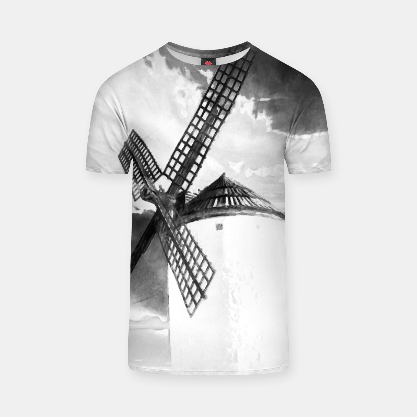 Image of wind mill landscape digital aquarell aqbw T-shirt - Live Heroes