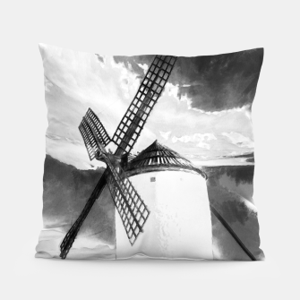 wind mill landscape digital aquarell aqbw Pillow thumbnail image