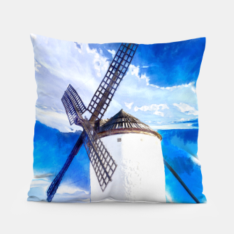 wind mill landscape digital aquarell aqstd Pillow thumbnail image