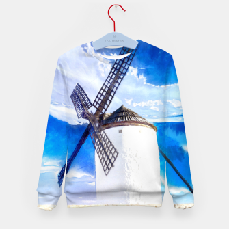 wind mill landscape digital aquarell aqstd Kid's sweater thumbnail image