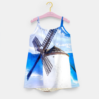 wind mill landscape digital aquarell aqstd Girl's dress thumbnail image