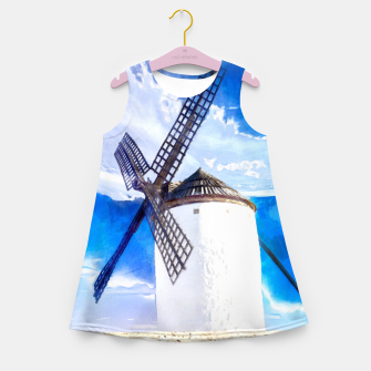 wind mill landscape digital aquarell aqstd Girl's summer dress thumbnail image