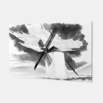 wind mill landscape digital aquarell aqbw Canvas thumbnail image