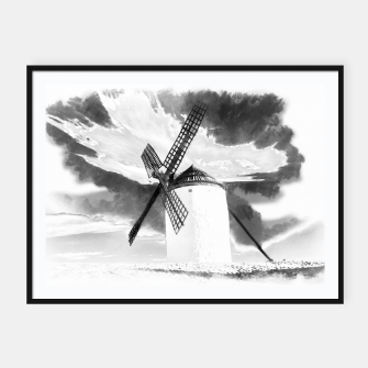 wind mill landscape digital aquarell aqbw Framed poster thumbnail image