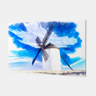 wind mill landscape digital aquarell aqstd Canvas thumbnail image