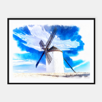 wind mill landscape digital aquarell aqstd Framed poster thumbnail image