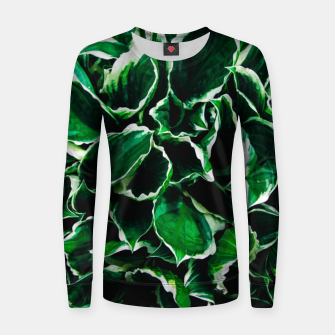 Thumbnail image of Hosta undulata albomarginata vibrant green plant leaves Women sweater, Live Heroes