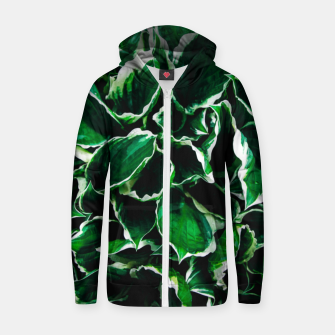 Thumbnail image of Hosta undulata albomarginata vibrant green plant leaves Zip up hoodie, Live Heroes