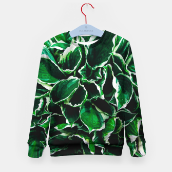 Thumbnail image of Hosta undulata albomarginata vibrant green plant leaves Kid's sweater, Live Heroes
