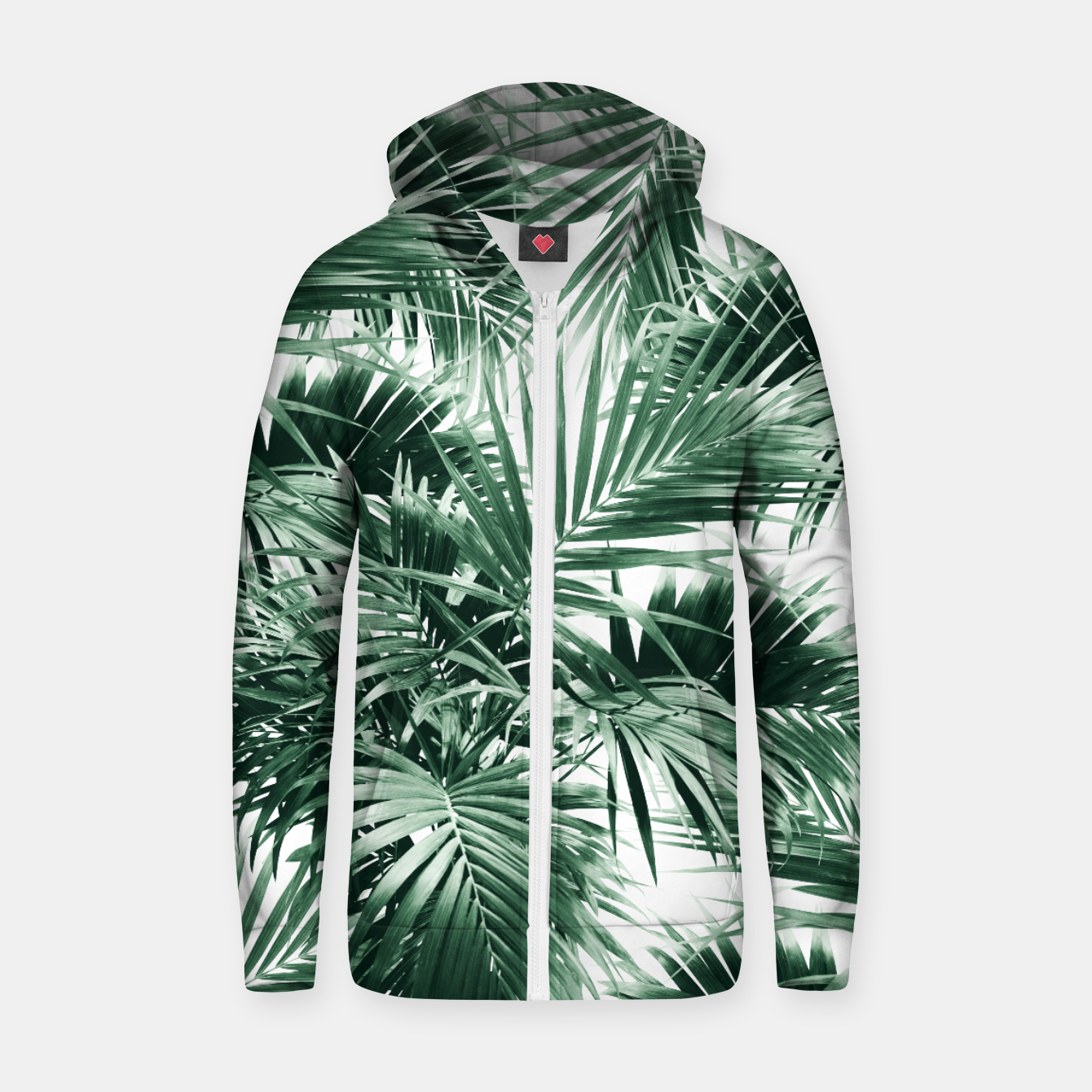 Image of Tropical Palm Leaf Jungle #1 #tropical #decor #art  Reißverschluss kapuzenpullover - Live Heroes