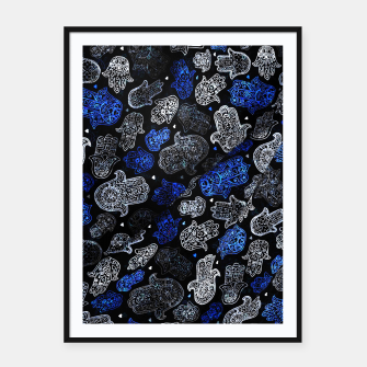 Indigo Blue Vintage Moroccan Texture. Framed poster thumbnail image