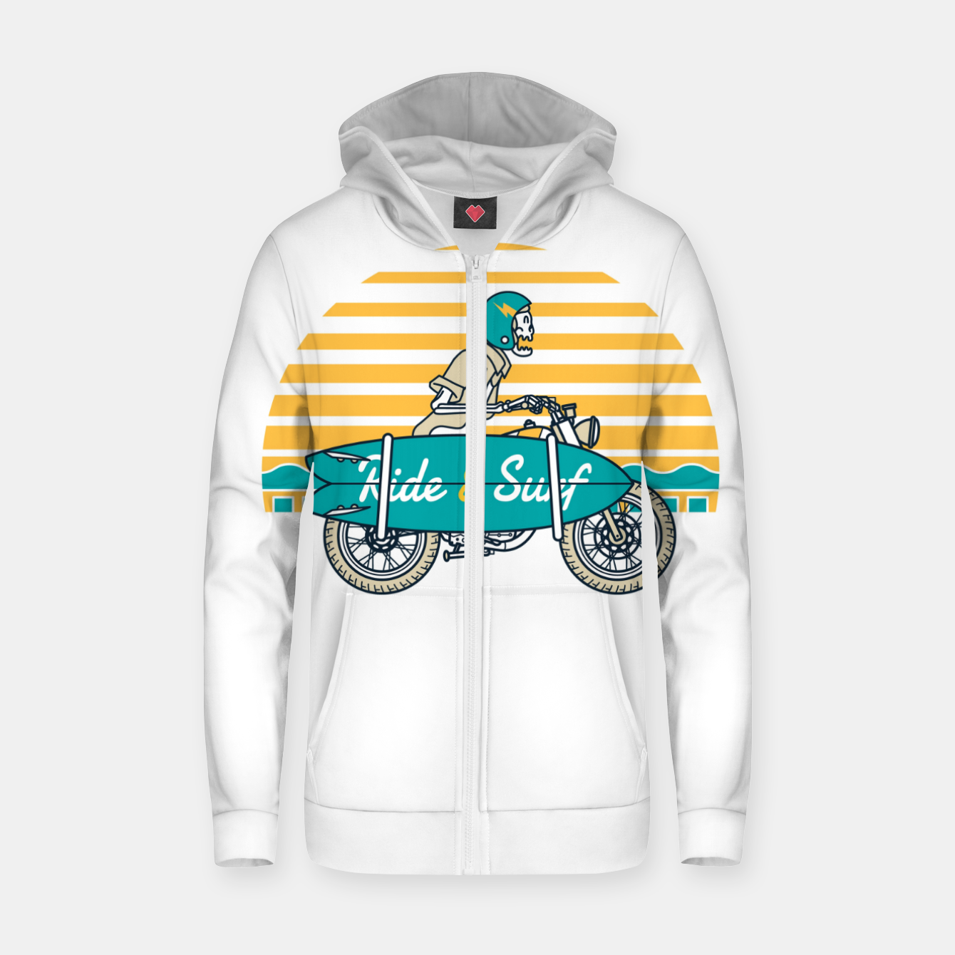 Image of Ride and Surf Zip up hoodie - Live Heroes
