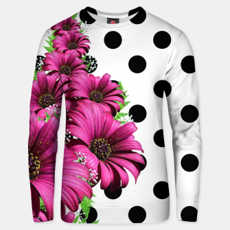 Miniatur Magenta Daisy Flowers Polka Dot Unisex sweater, Live Heroes