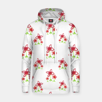 Cute Floral Drawing Pattern Hoodie obraz miniatury