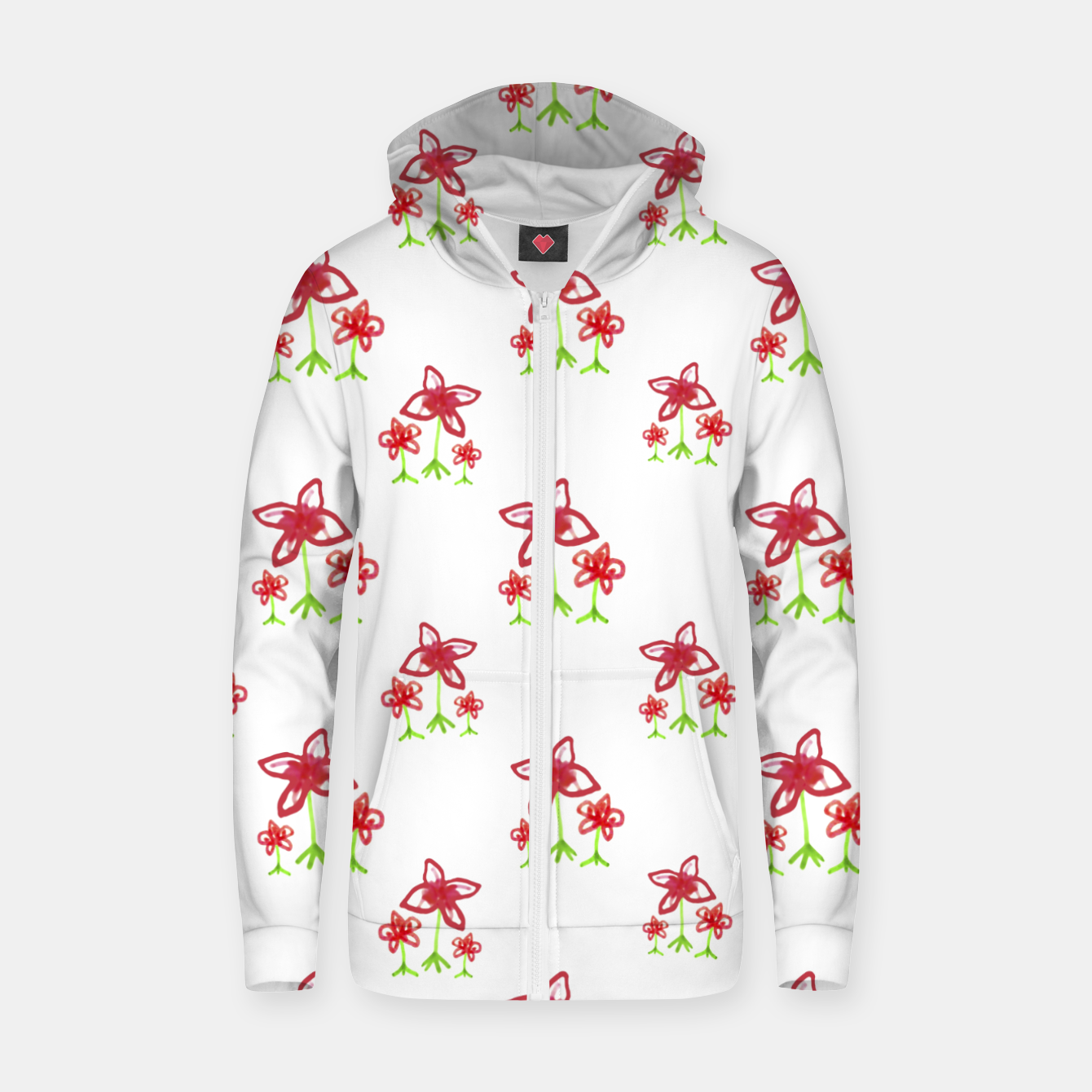 Zdjęcie Cute Floral Drawing Pattern Zip up hoodie - Live Heroes