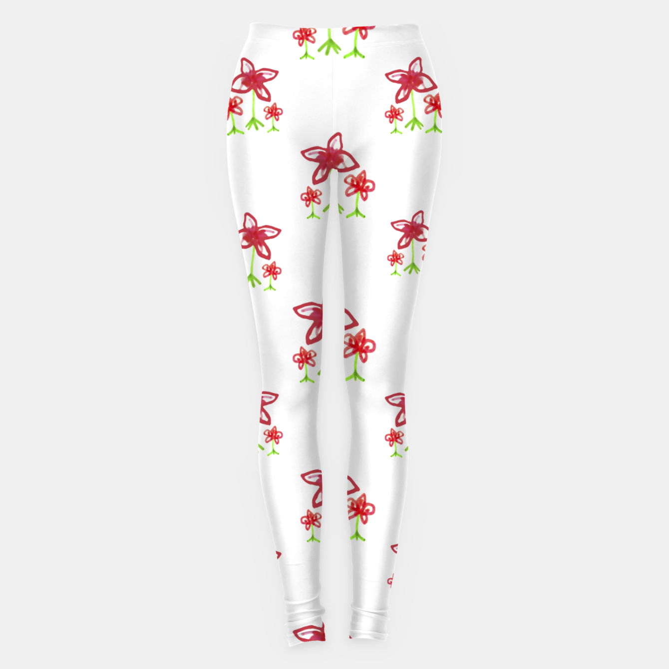 Zdjęcie Cute Floral Drawing Pattern Leggings - Live Heroes