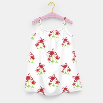 Cute Floral Drawing Pattern Girl's dress obraz miniatury