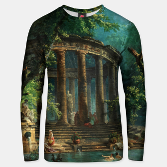 Thumbnail image of The Bathing Pool by Hubert Robert Unisex sweater, Live Heroes