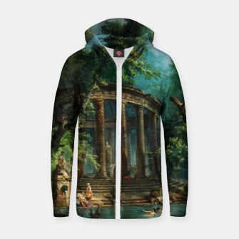 Thumbnail image of The Bathing Pool by Hubert Robert Zip up hoodie, Live Heroes