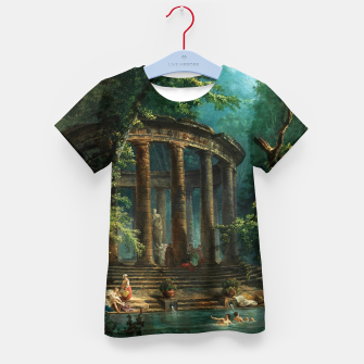 Thumbnail image of The Bathing Pool by Hubert Robert Kid's t-shirt, Live Heroes