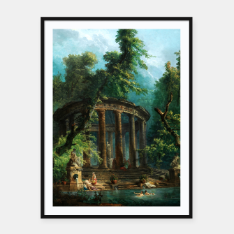 Thumbnail image of The Bathing Pool by Hubert Robert Framed poster, Live Heroes