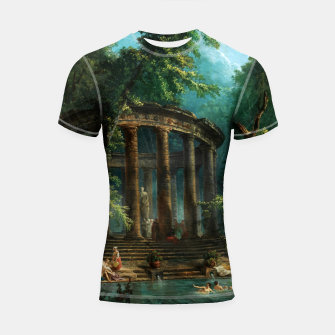 Thumbnail image of The Bathing Pool by Hubert Robert Shortsleeve rashguard, Live Heroes