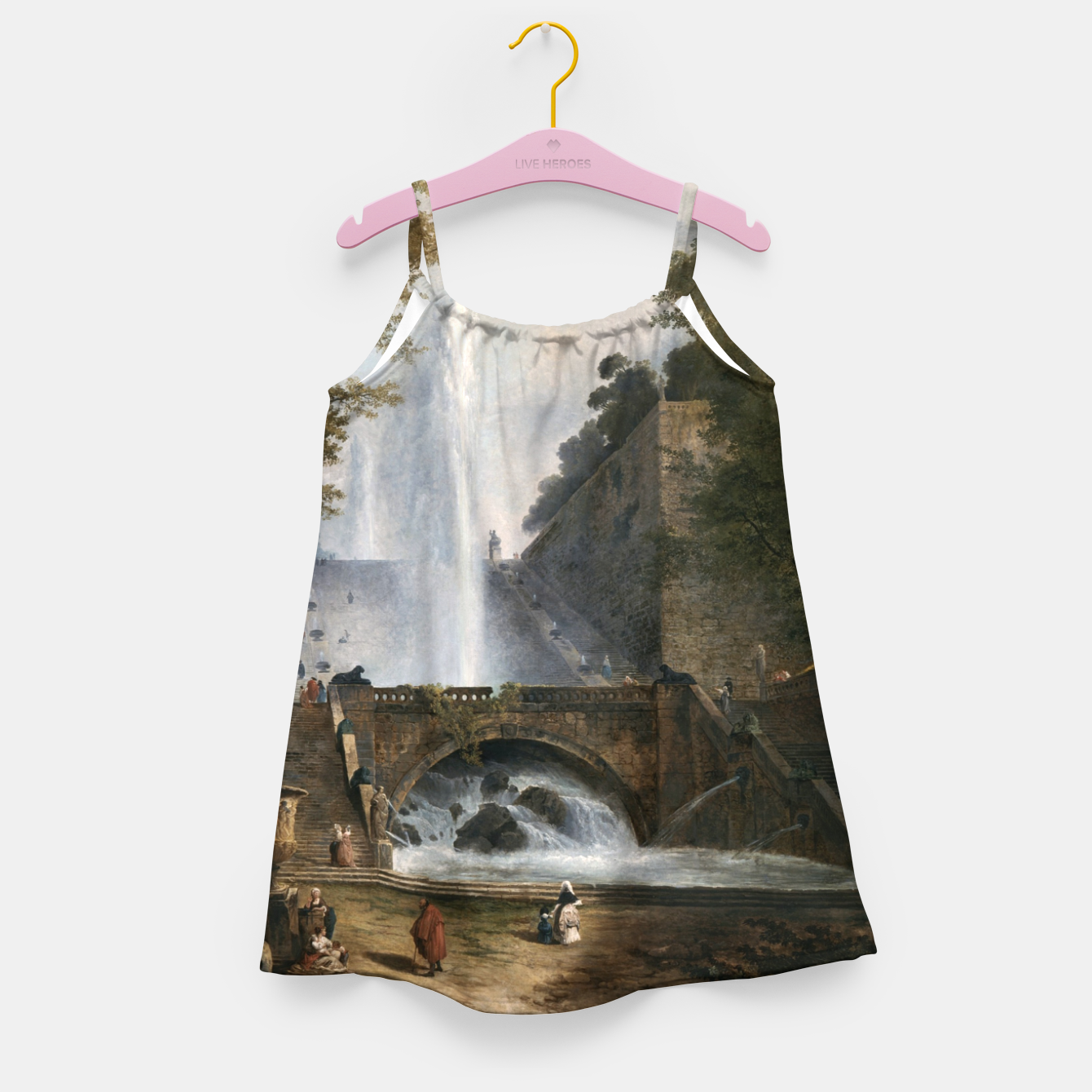 Image of Stair and Fountain in the Park of a Roman Villa Girl's dress - Live Heroes