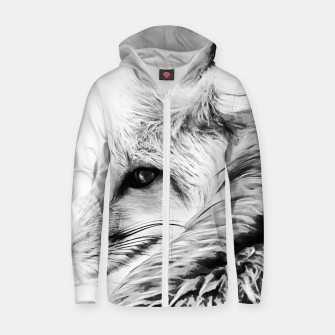 Thumbnail image of red fox digital acryl painting acrbw Zip up hoodie, Live Heroes