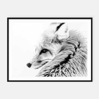 Thumbnail image of red fox digital acryl painting acrbw Framed poster, Live Heroes