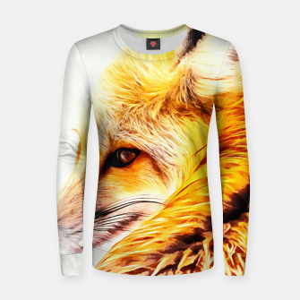 Thumbnail image of red fox digital acryl painting acrstd Women sweater, Live Heroes