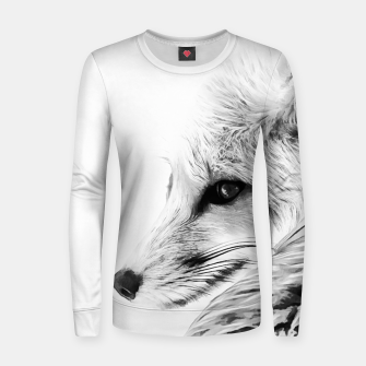 Thumbnail image of red fox digital acryl painting acrbw Women sweater, Live Heroes