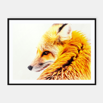 Thumbnail image of red fox digital acryl painting acrstd Framed poster, Live Heroes