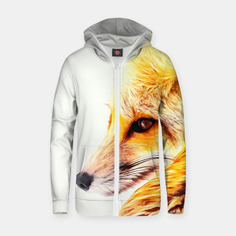 Thumbnail image of red fox digital acryl painting acrstd Zip up hoodie, Live Heroes