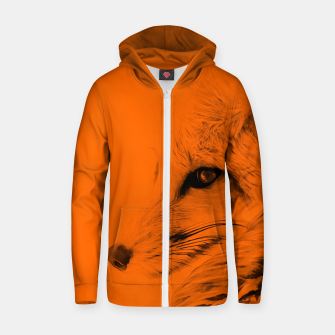 Thumbnail image of red fox digital acryl painting acrob Zip up hoodie, Live Heroes