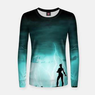 Thumbnail image of Cat on Stormy Night  Women sweater, Live Heroes