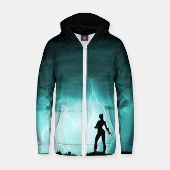 Thumbnail image of Cat on Stormy Night  Zip up hoodie, Live Heroes