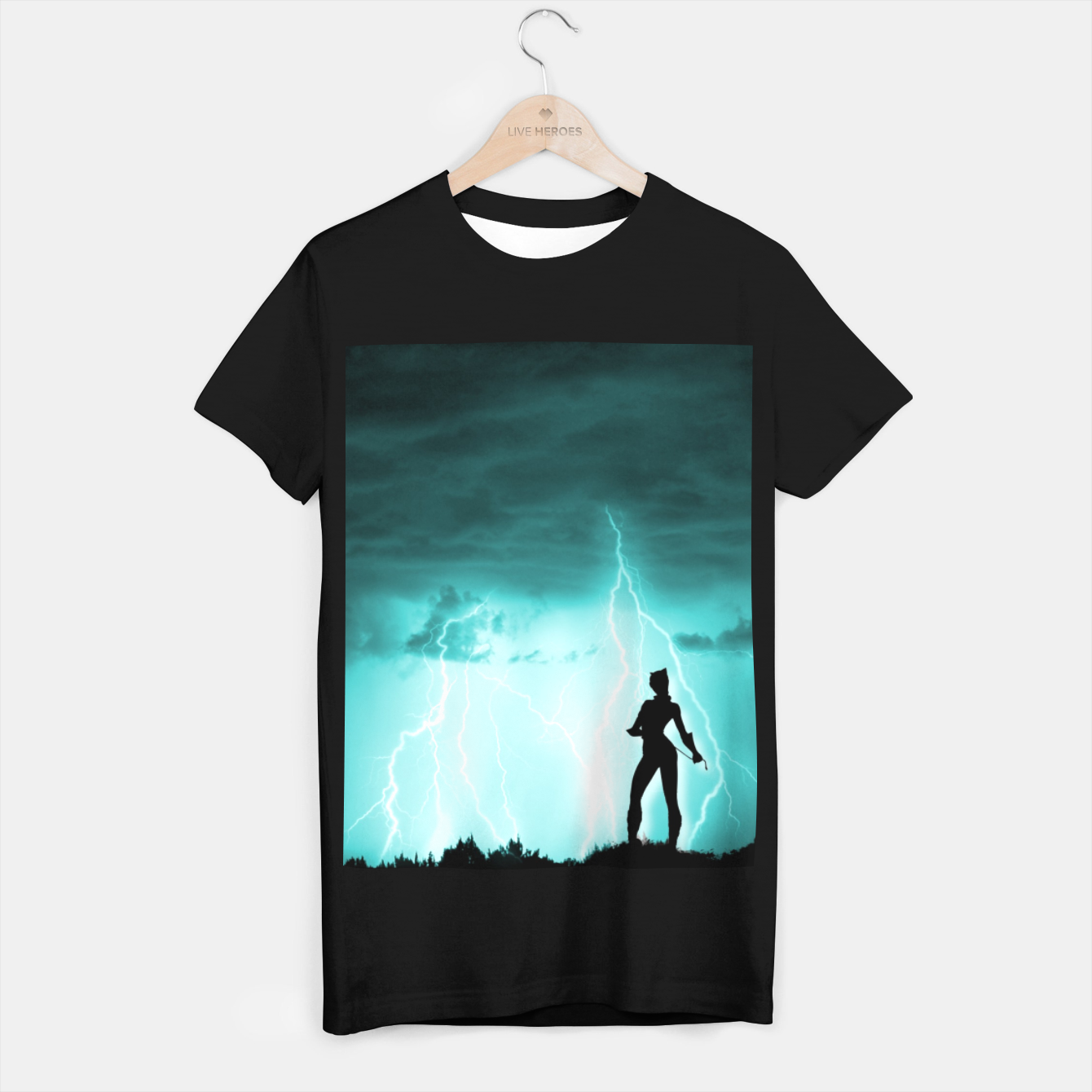 Imagen de Cat on Stormy Night  T-shirt regular - Live Heroes